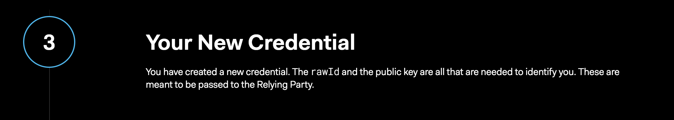 WebAuthn Credentials and Login Demo - Step 3 rawId and public key created on WebAuthn.me