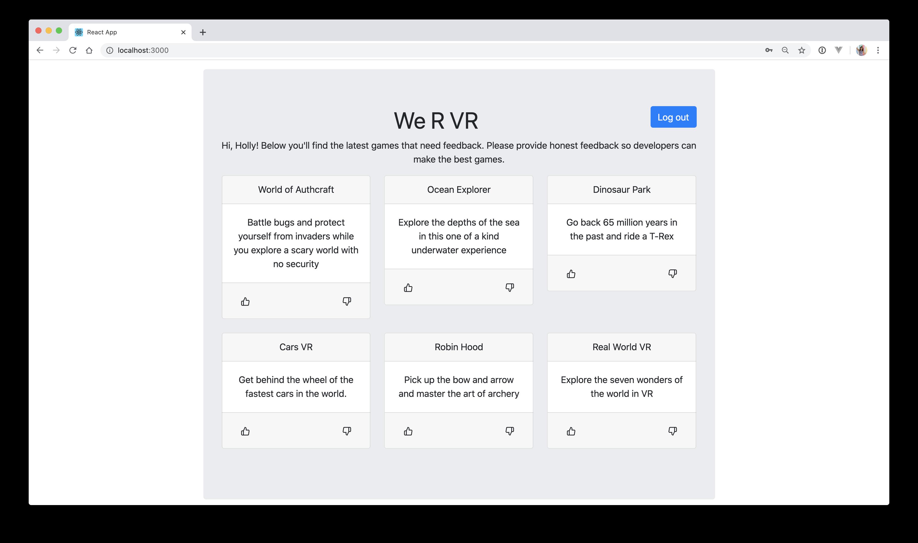 We-R-Vr Go React final application