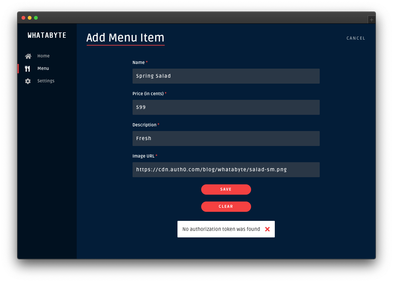 Unauthorized error message when creating an item as an unauthenticated visitor