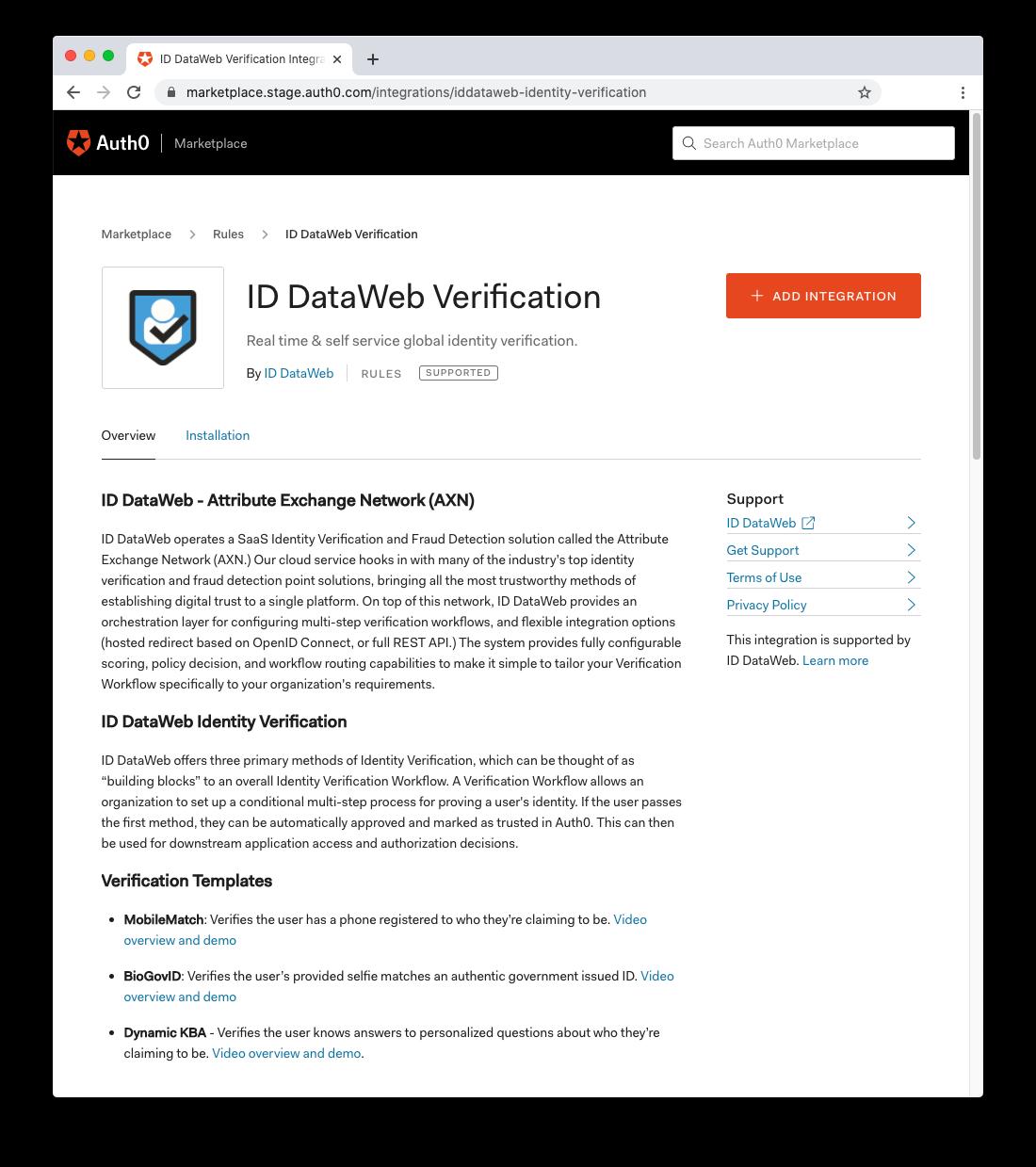 ID DataWeb Verification