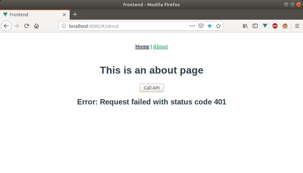 localhost unauthorized api access - request failed status 401 example