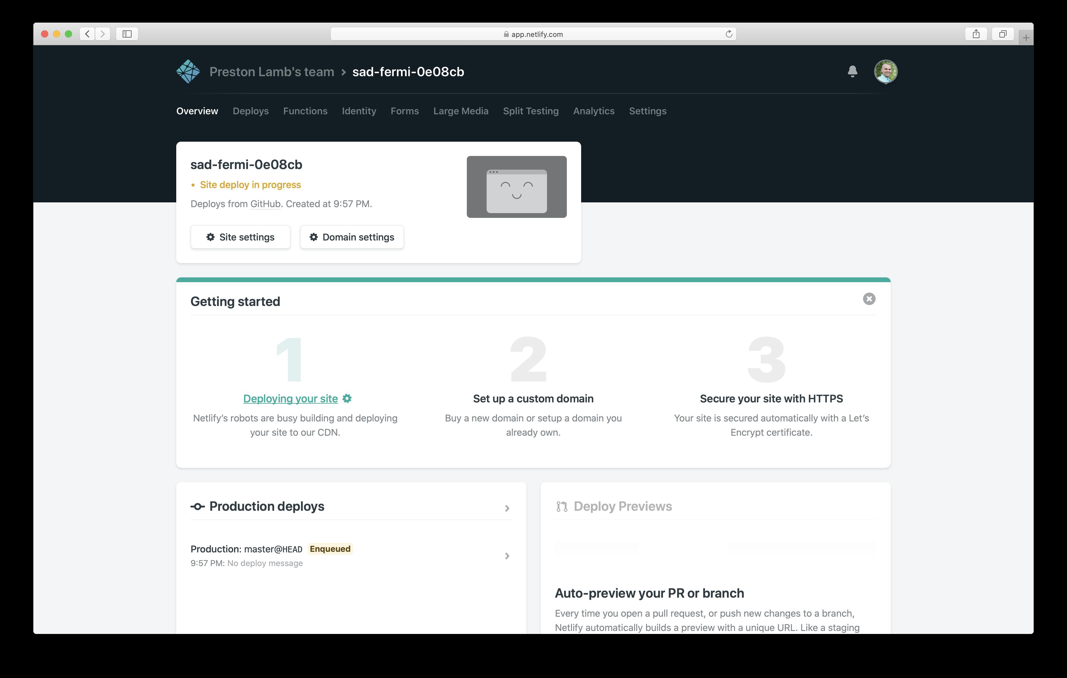 Build in progress on Netlify