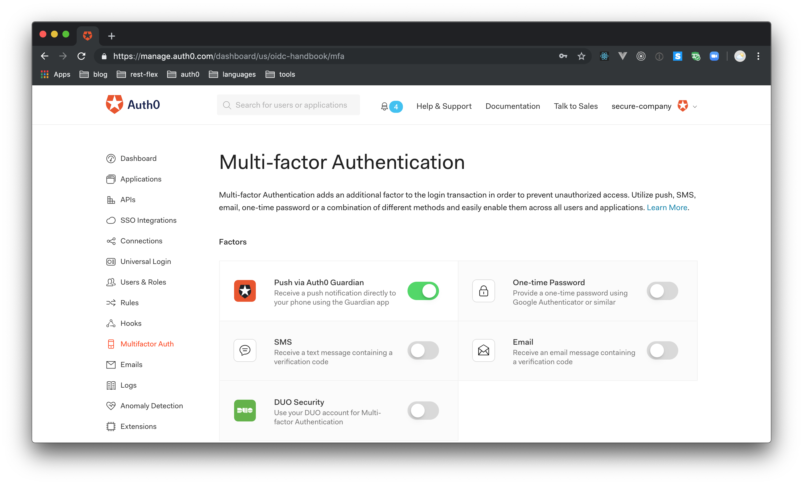 Multifactor authentication (MFA) within Auth0's Dashboard