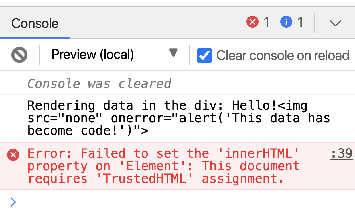 Error thrown by Trusted Types