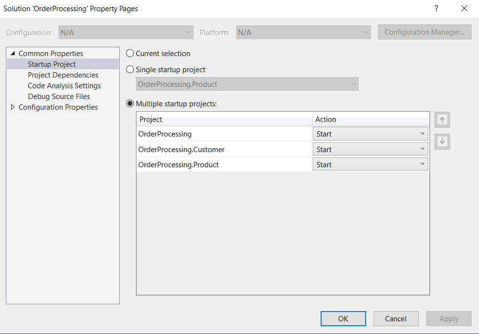 Multiple startup projects option in Visual Studio