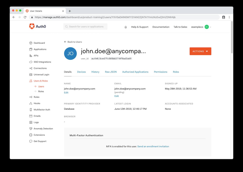 Auth0 single user profile dashboard