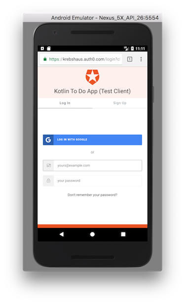 Auth0 authentication screen