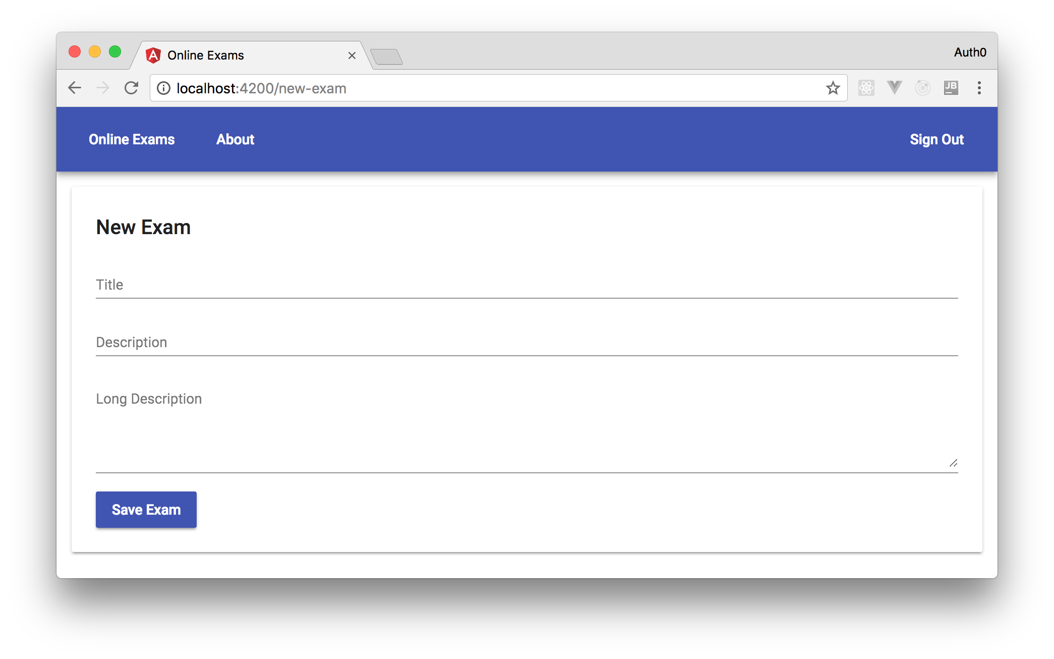 Angular form with Angular Material components.