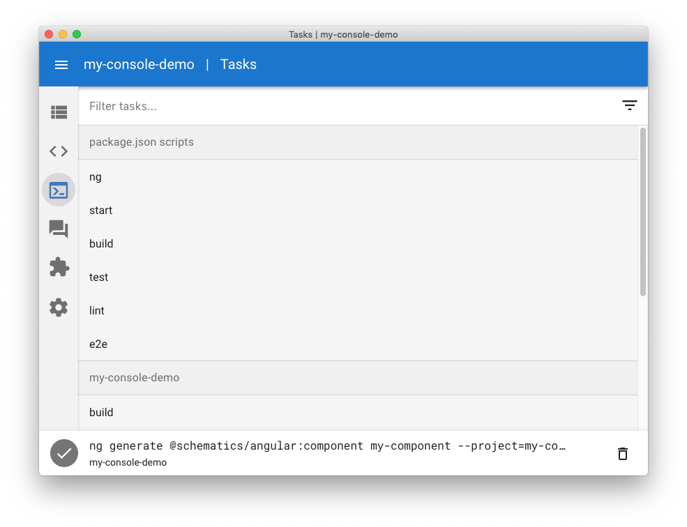 The task runner screen in Angular Console.