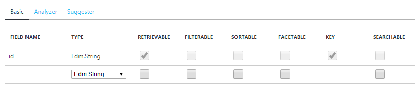 Index fields and attributes