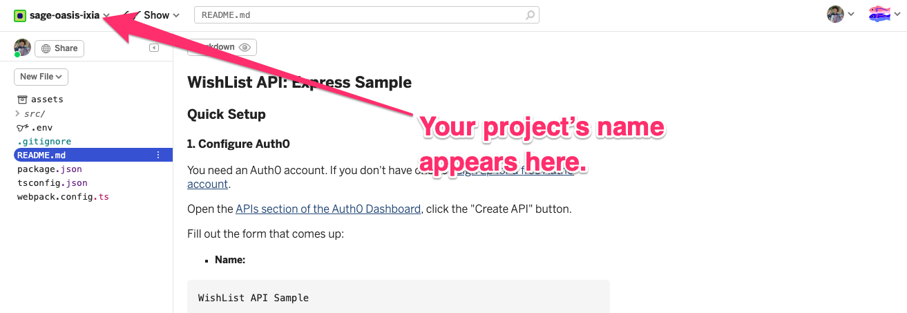"""Web page for the copy of the Glitch project. An arrow points to the upper left hand corner of the page, and it says """"Your project's name appears here."""""""