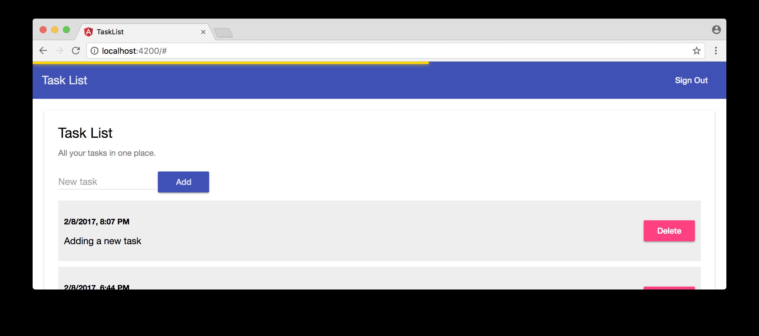 Slim loading bar on task list Angular application