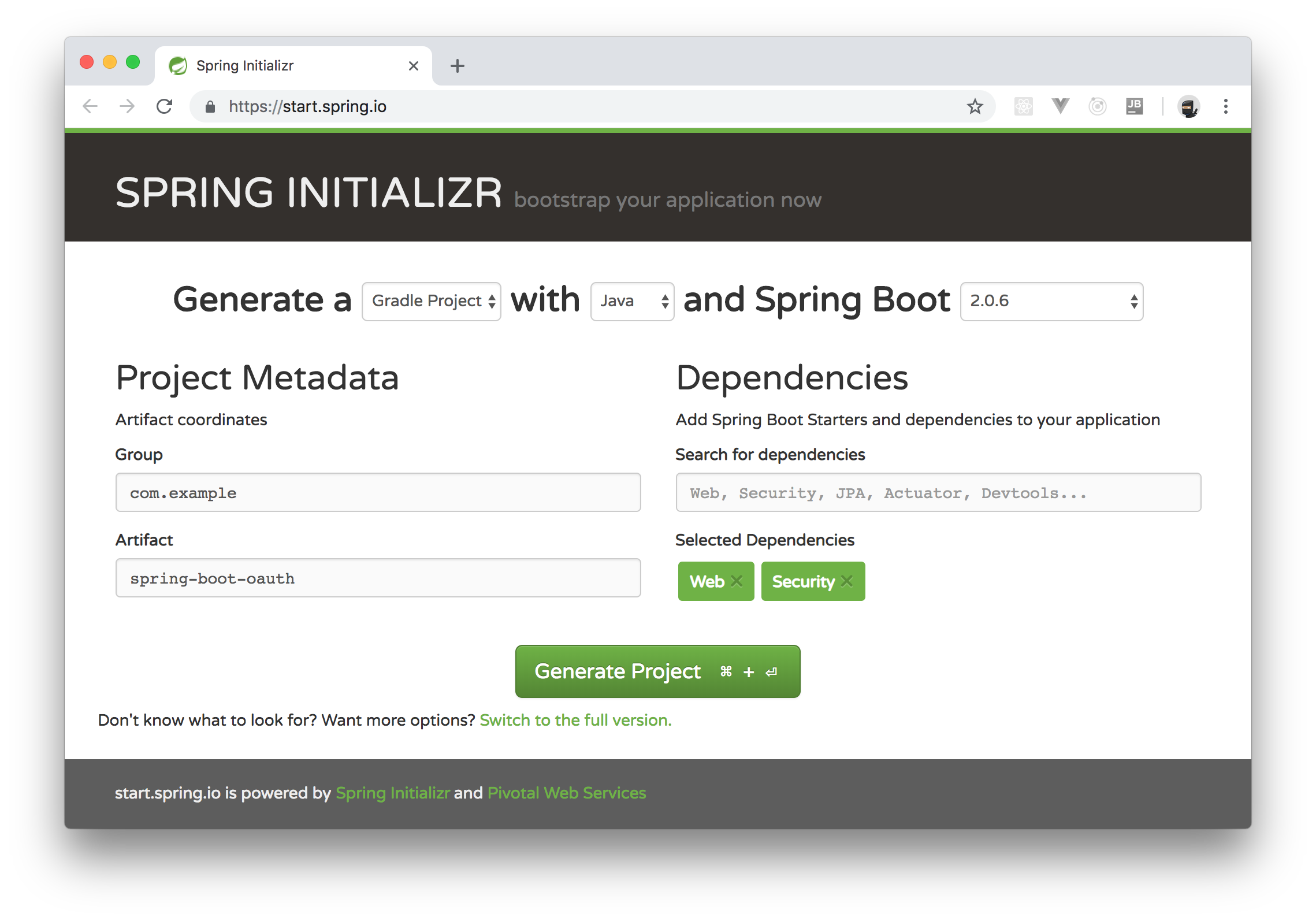 Generating a new Spring Boot project with Spring Initializr