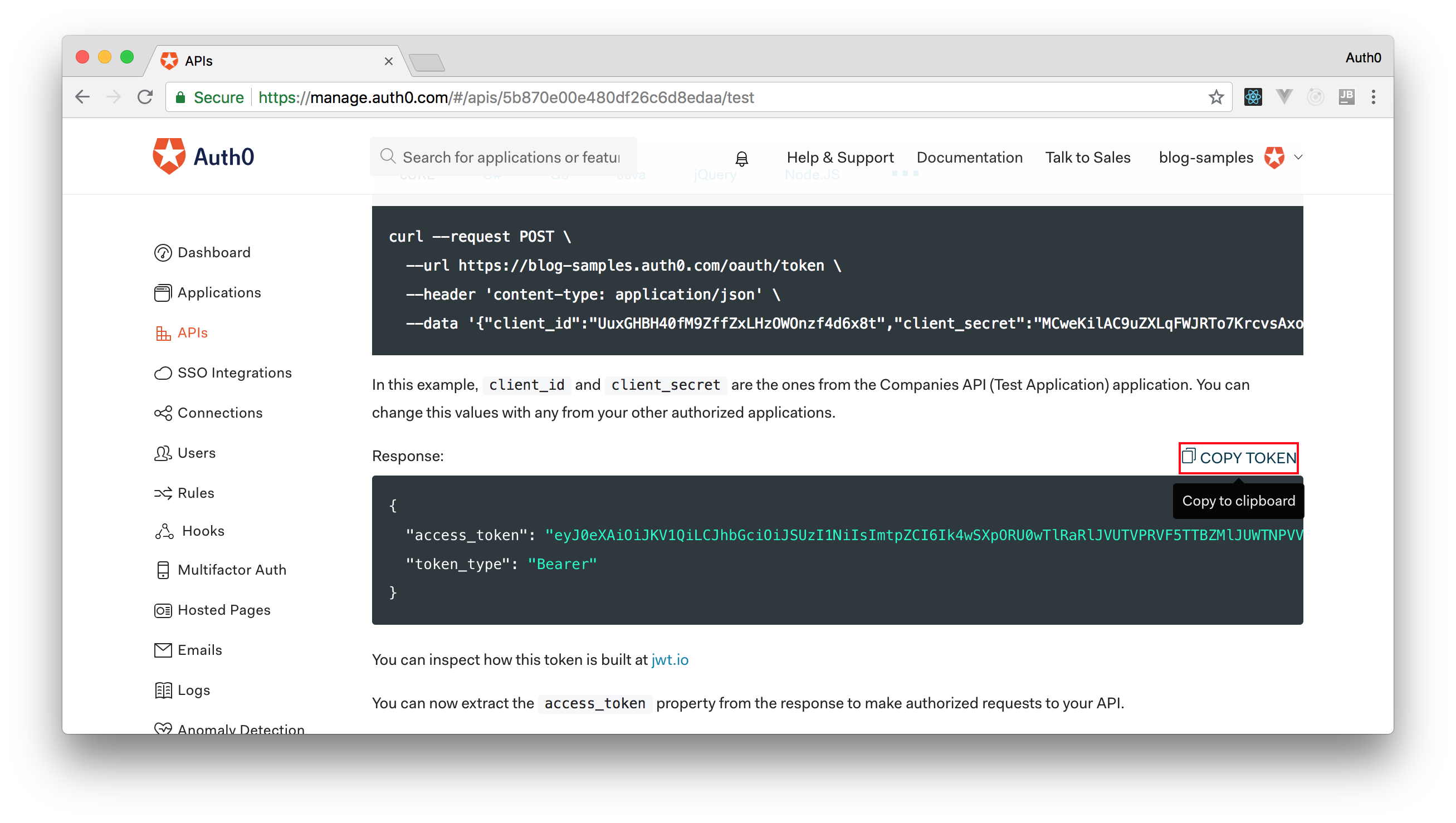 Copying test token from your Auth0 API