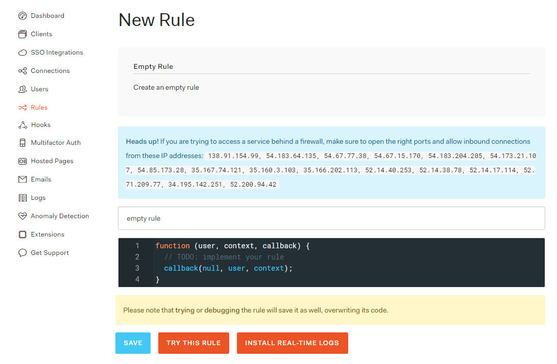 Auth0 Creating a rule