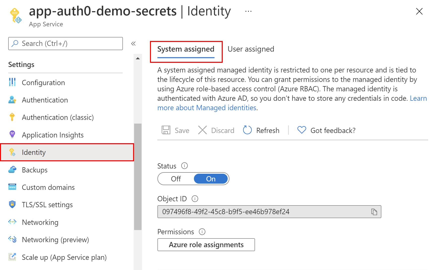Azure Web App managed identity setup
