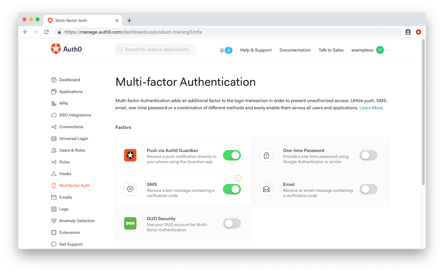 Multifactor Authentication Dashboard