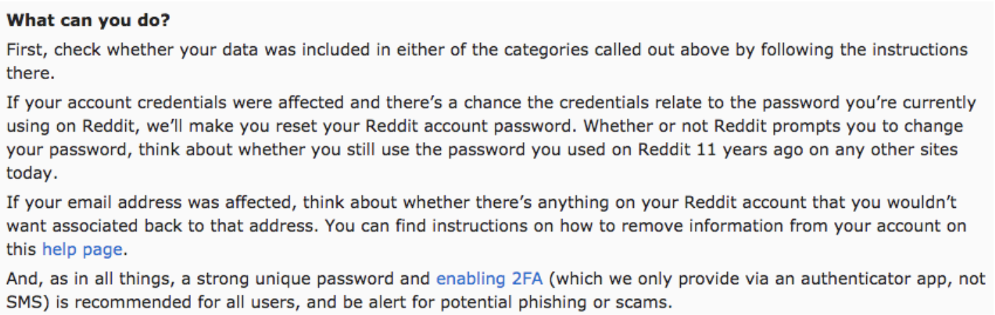 Reddit Data Breach notice to users regarding 2FA and other security measures