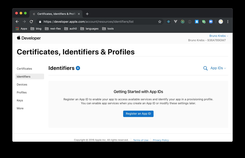 Apple Developer - Certificates, IDs, & Profiles page of Developer Account