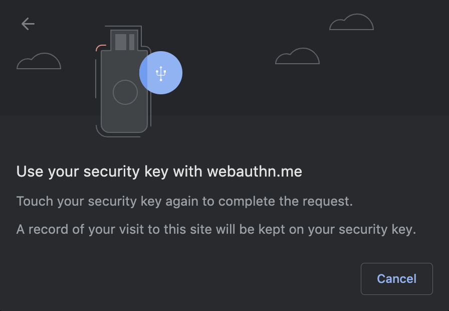 Confirm by touching your security key