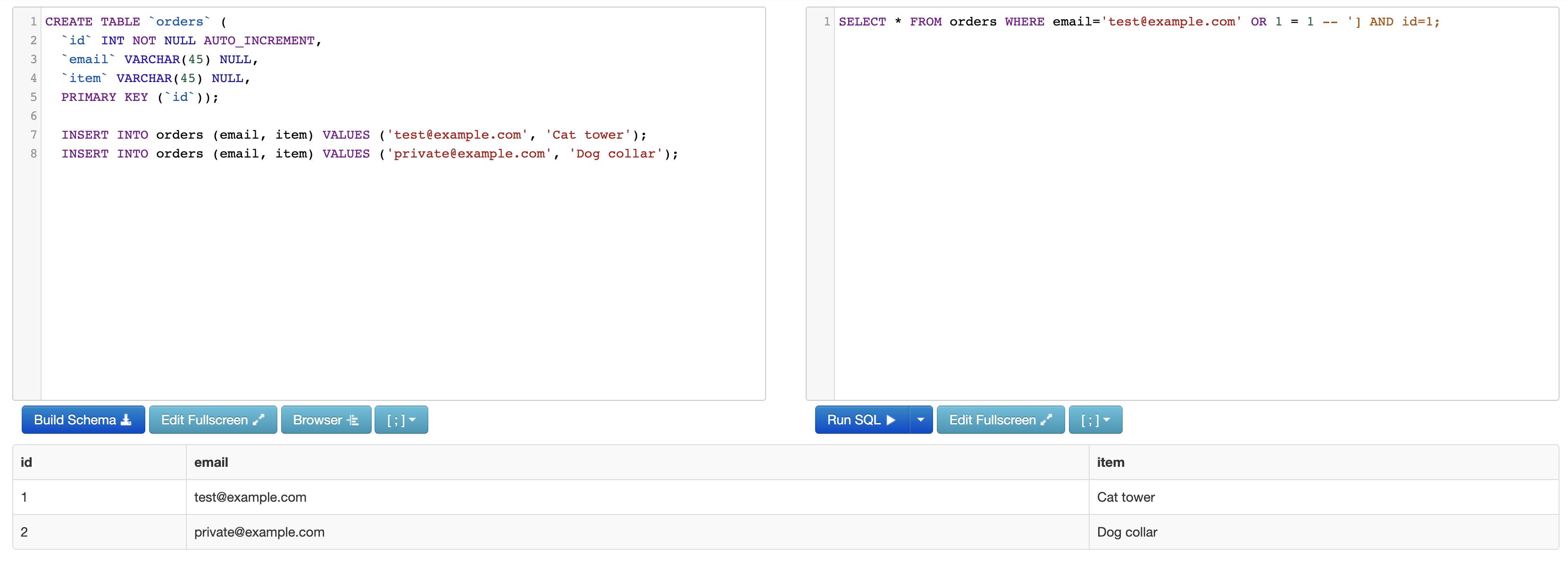 Malicious SQL query