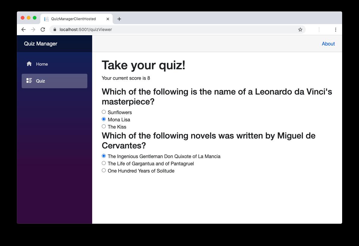 Blazor Quiz Page