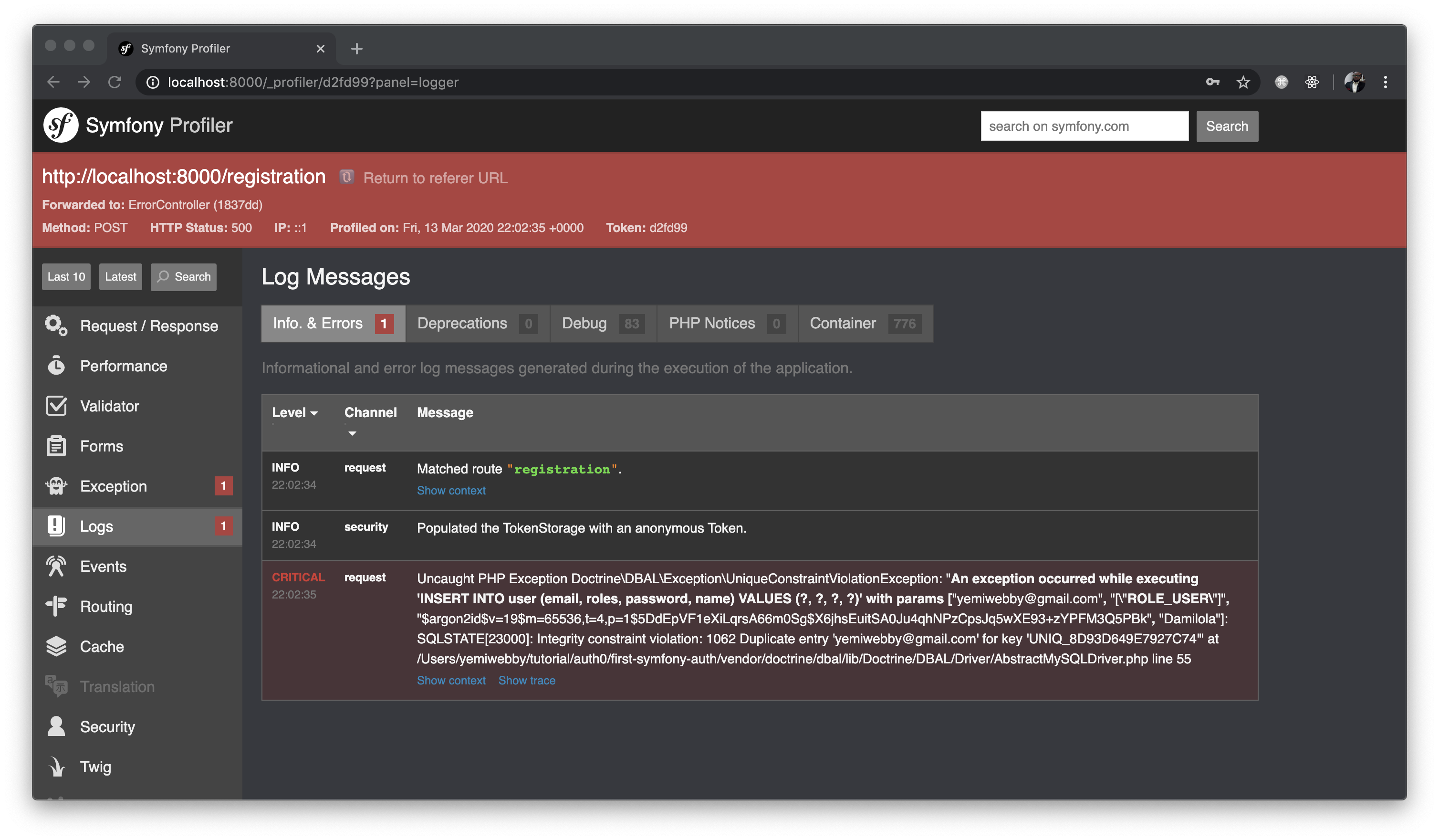 Symfony debug toolbar profiler error