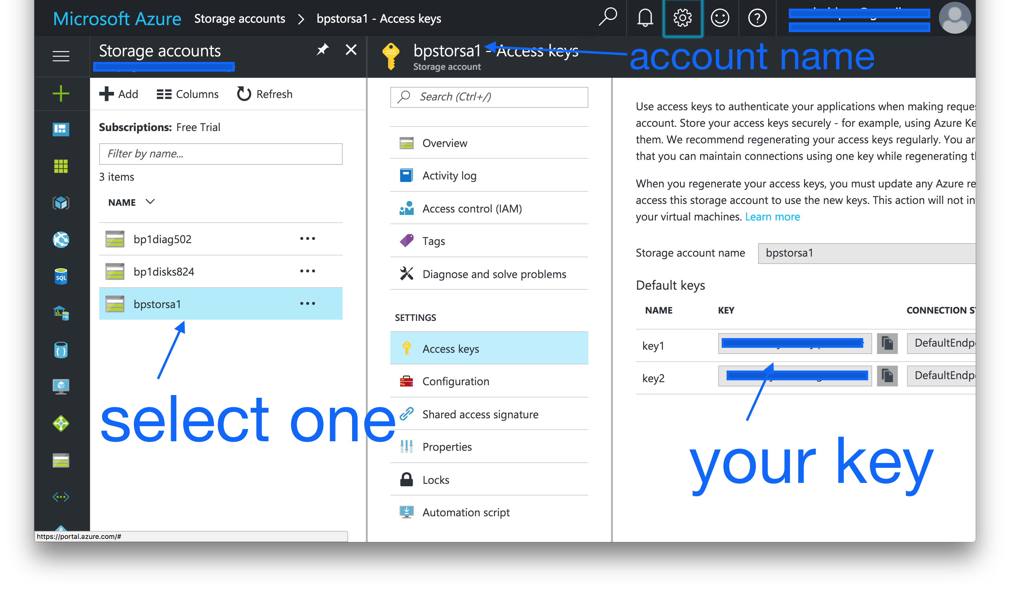 Retrieving account name and account key from Azure Storage