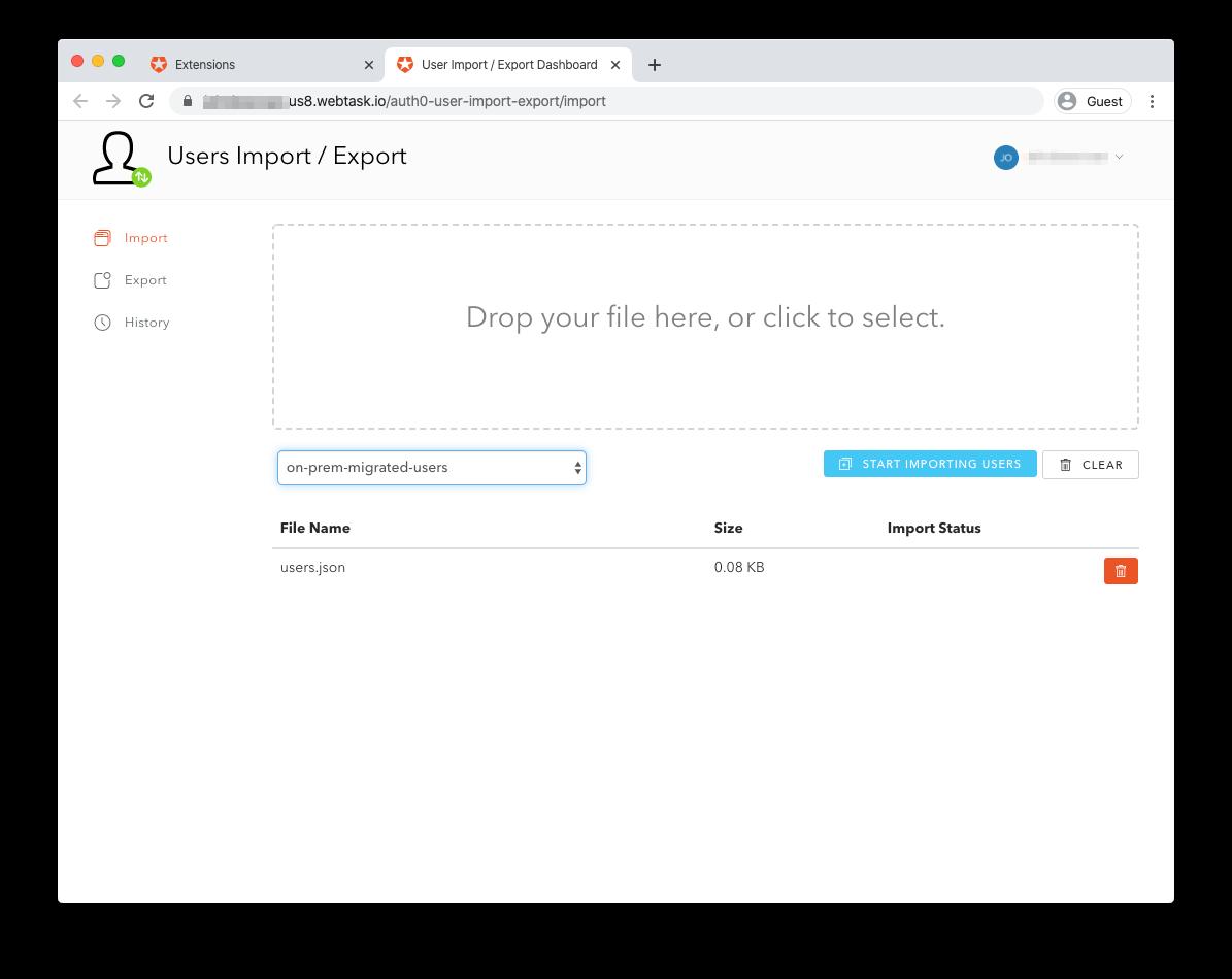 User Import Export extension upload screen