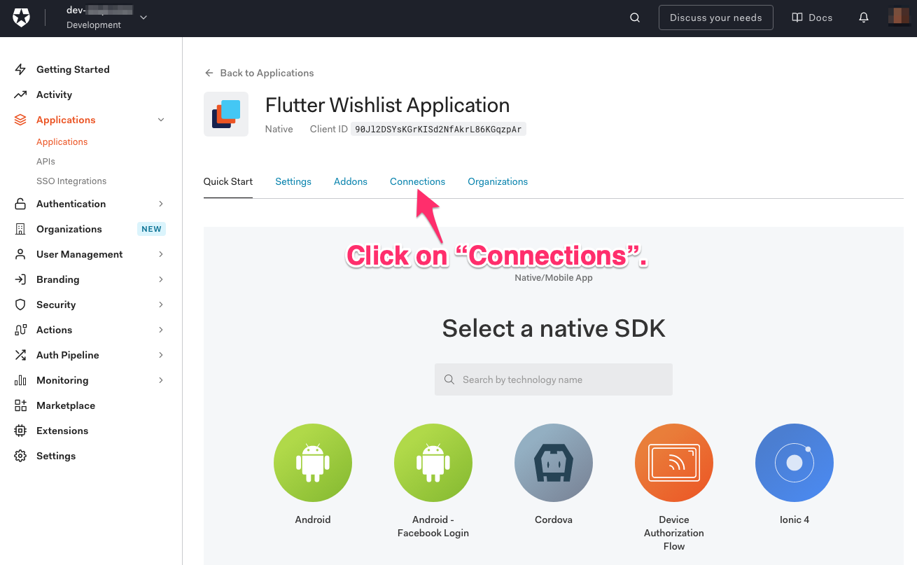 """""""Flutter Wishlist Application"""" configuration page. An arrow points to the """"Connections"""" tab, and it says """"Click on """"Connections."""""""