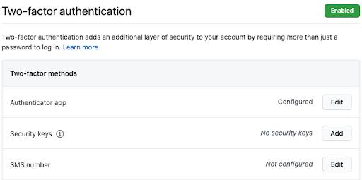 Security key with Github