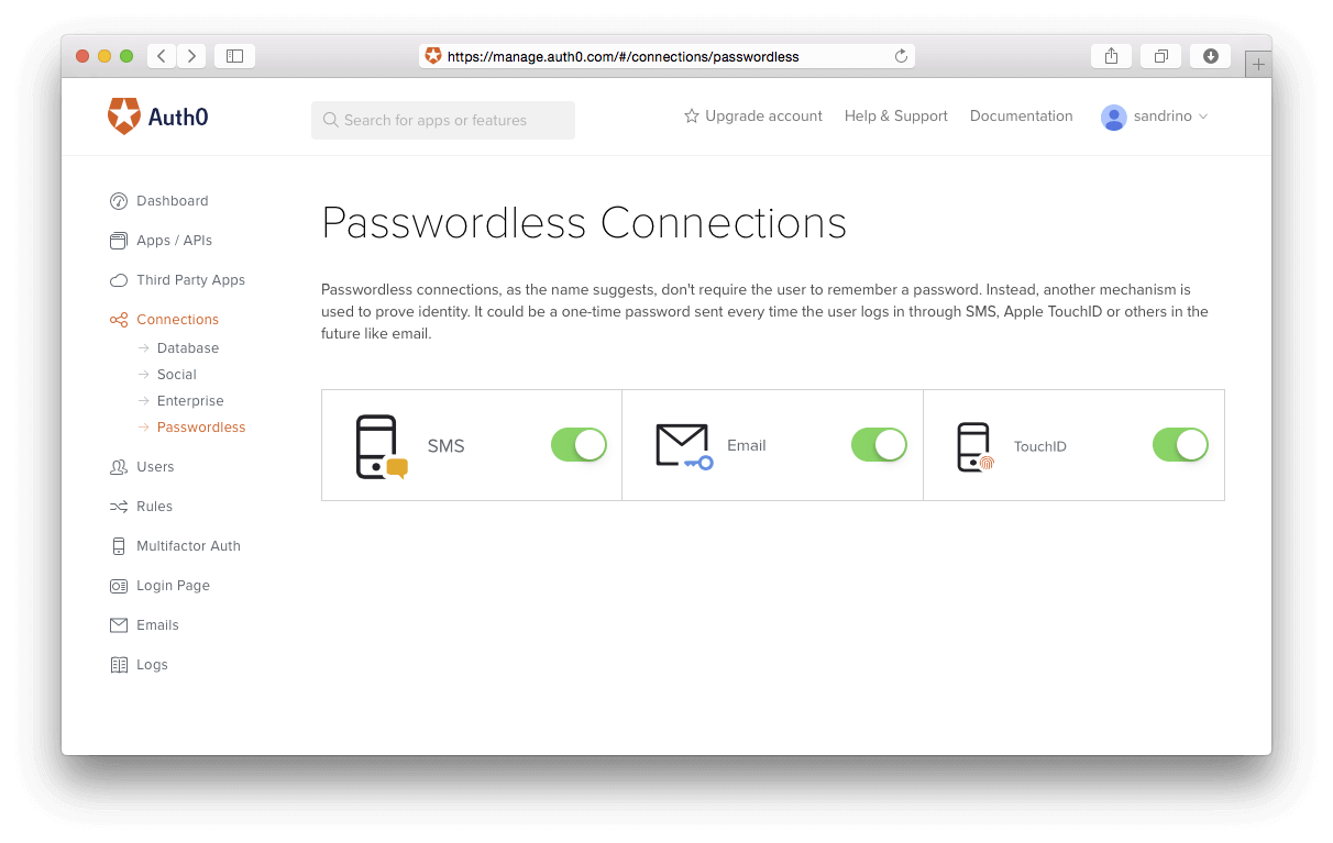 Passwordless Connections Dashboard