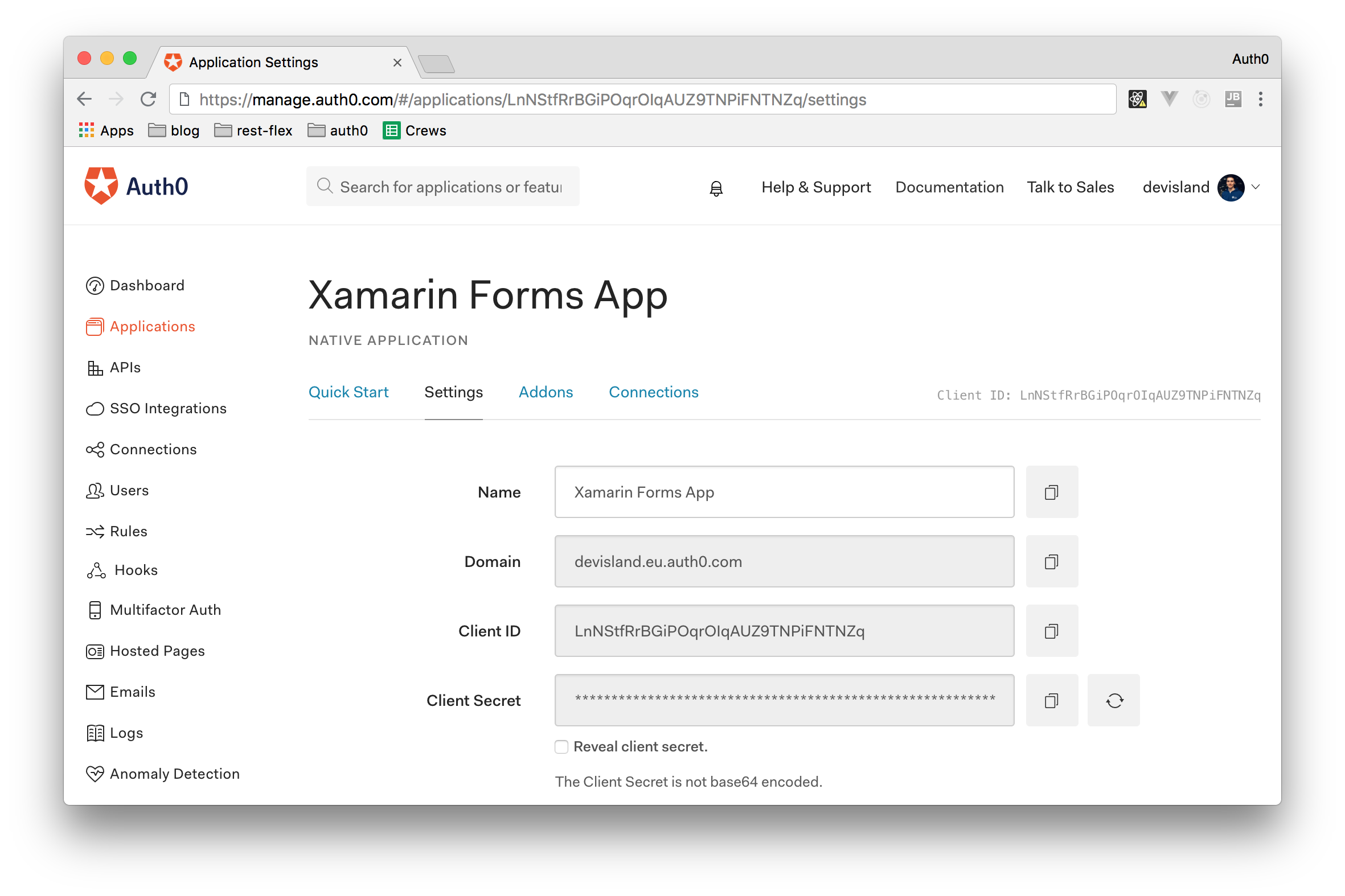 Creating a Native Application for Xamarin Forms in the Auth0 Dashboard