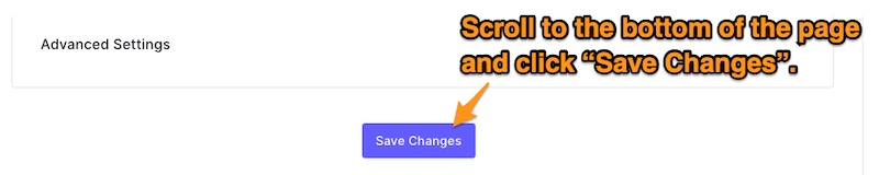 """The """"Save Changes"""" button. The user is directed to click it."""