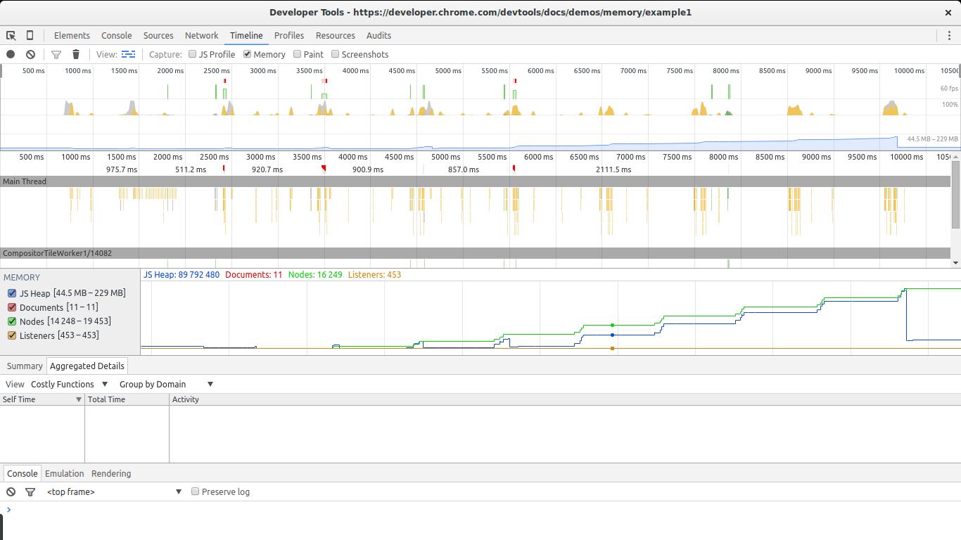 Google Dev Tools Timeline in Action
