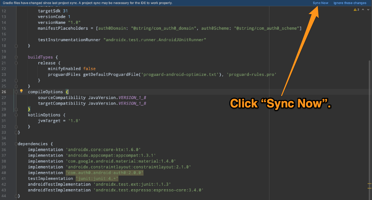 """The code window for the """"build.gradle"""" file. A notification bar at the top of the window says, """"Gradle files have changed since last project sync."""