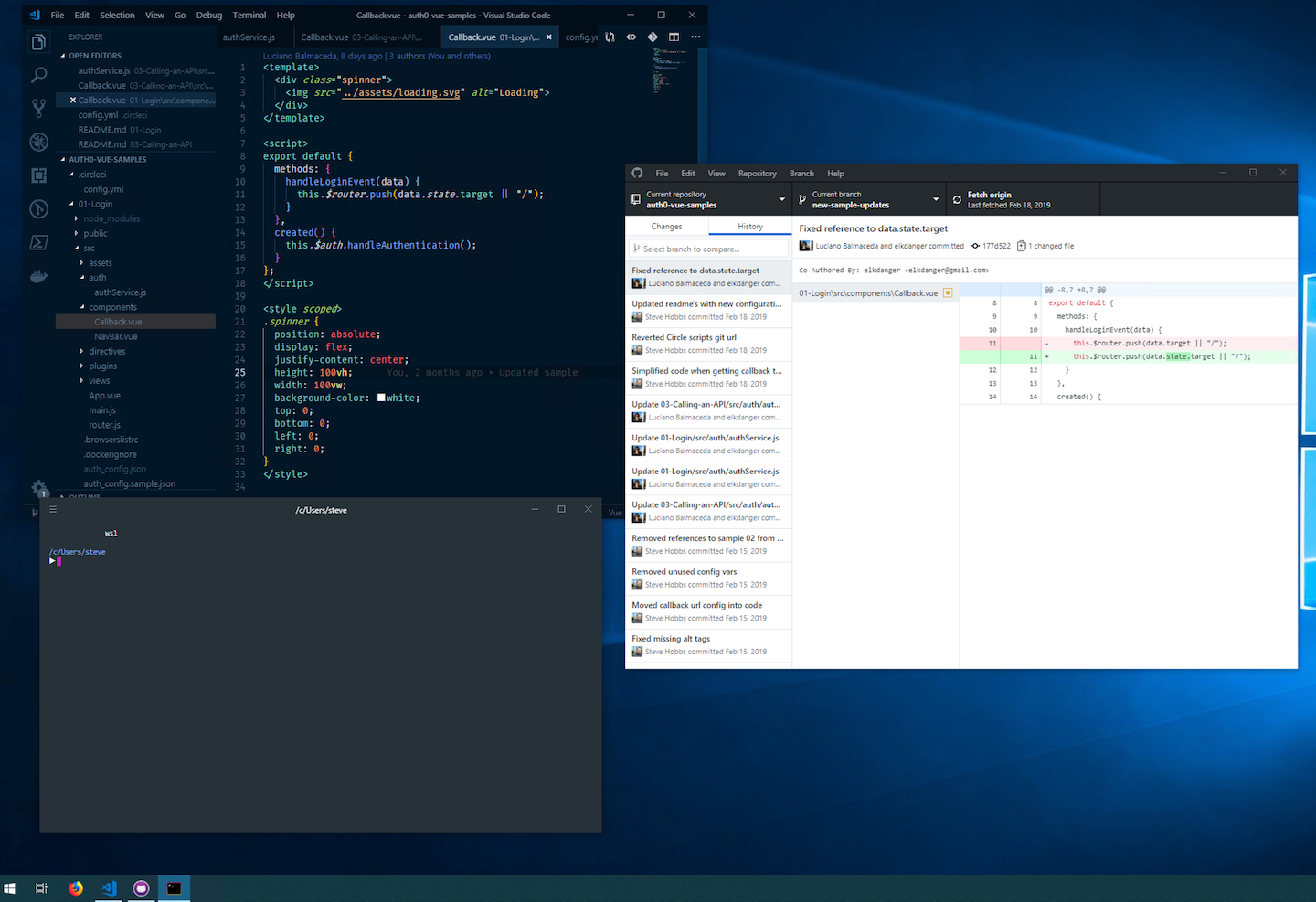 Windows desktop running Visual Studio Code, GitHub Desktop and WSL