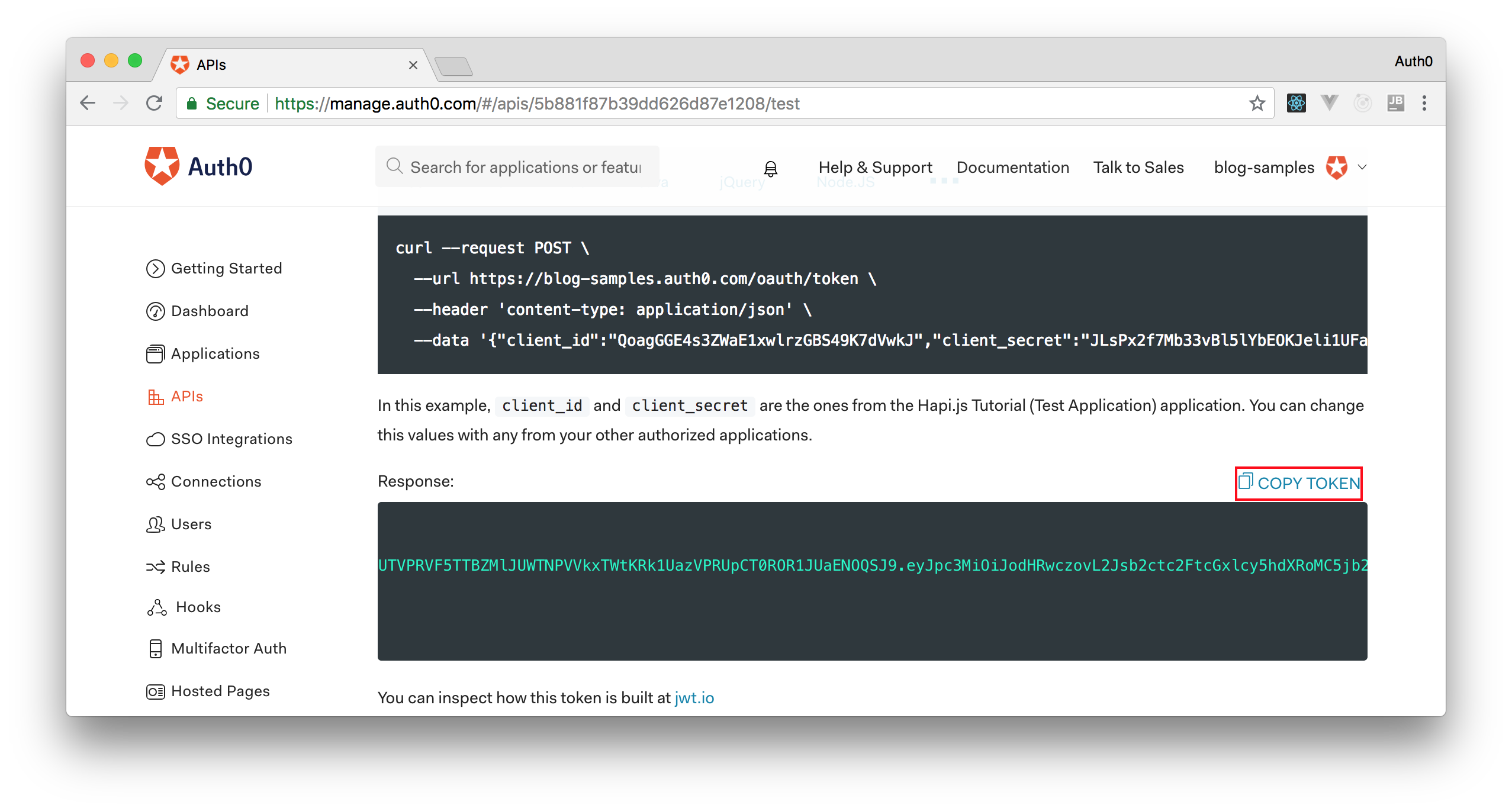 Copying a test token from the Auth0 dashboard.