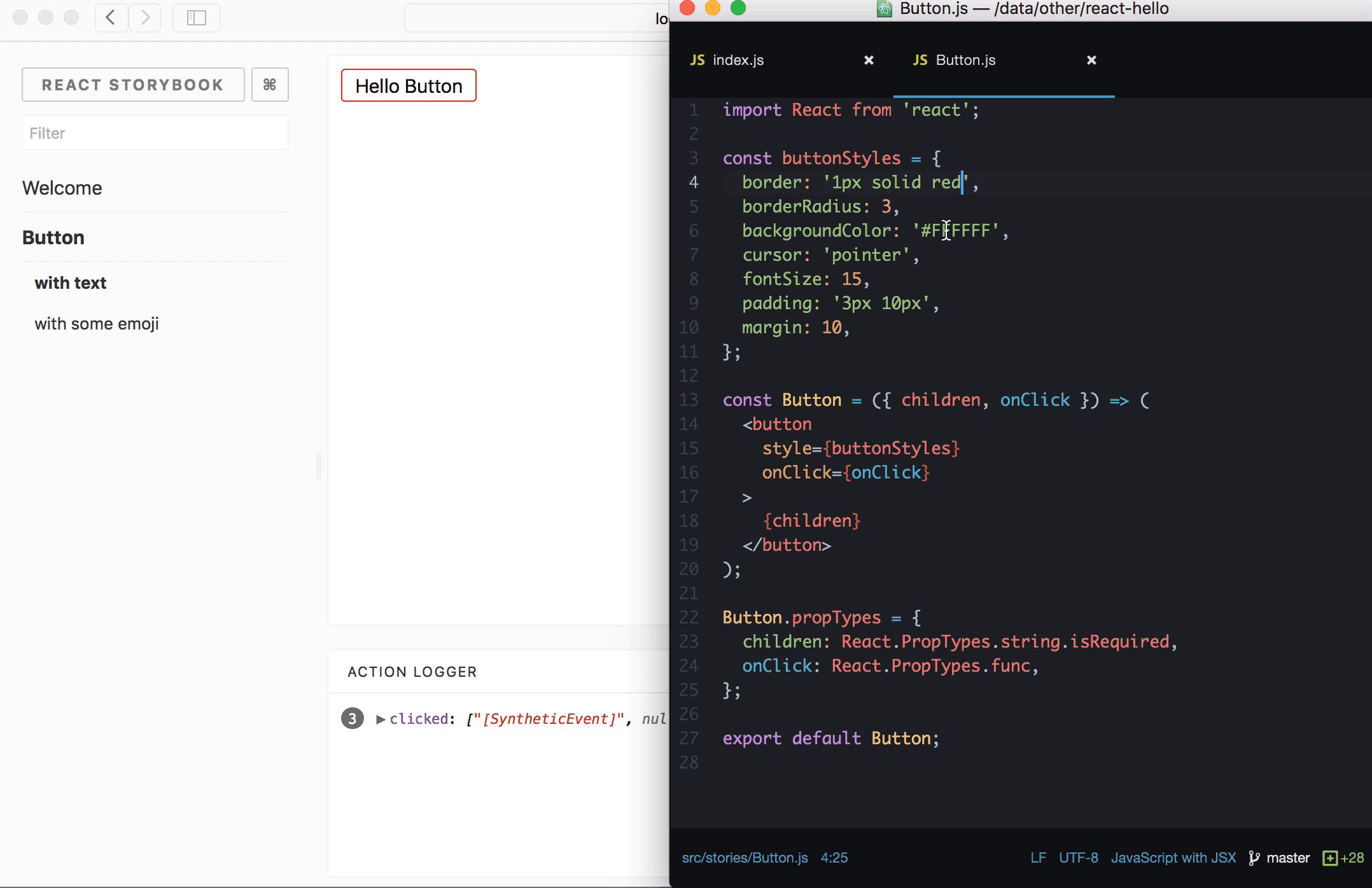 React Storybook component preview