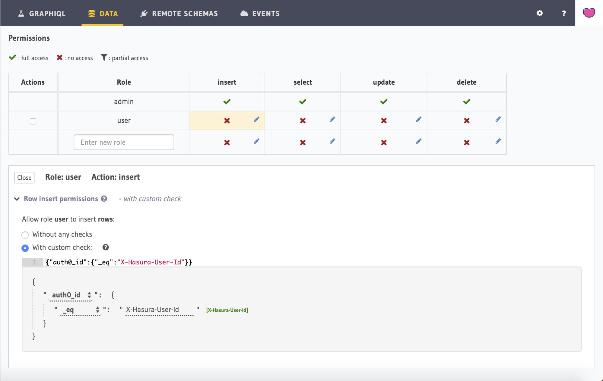 Screenshot showing the user permission checks