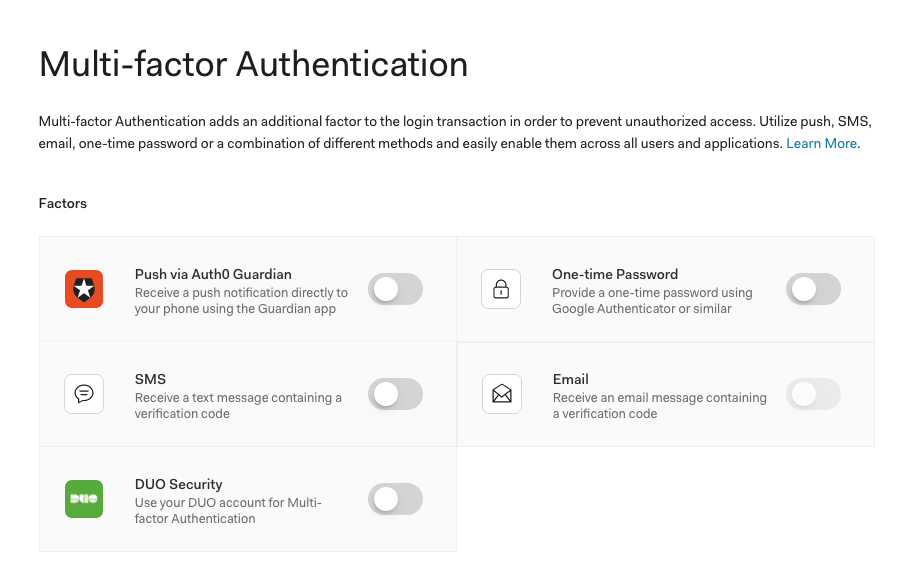 Auth0 Dashboard showing available factors when setting up multi-factor MFA