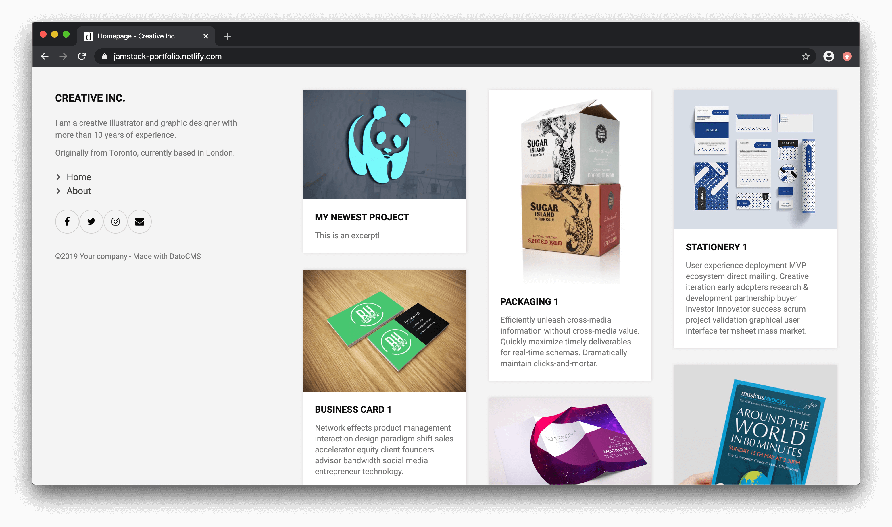 Final view of the deployed website homepage