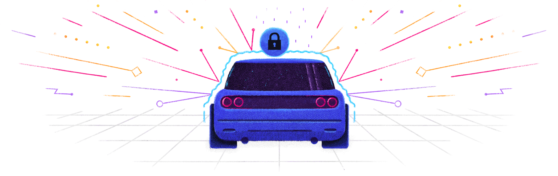 Illustration of a car protected by identity management