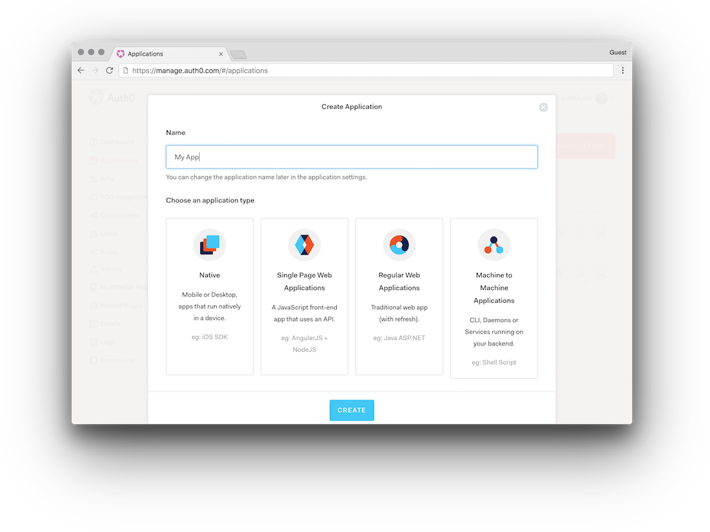 Creating a new single-page application (SPA) in the Auth0 dashboard