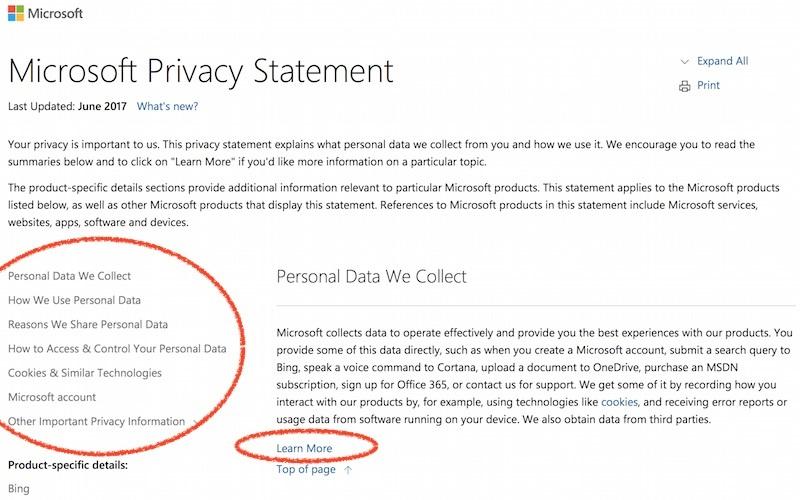 Microsoft privacy policy sample