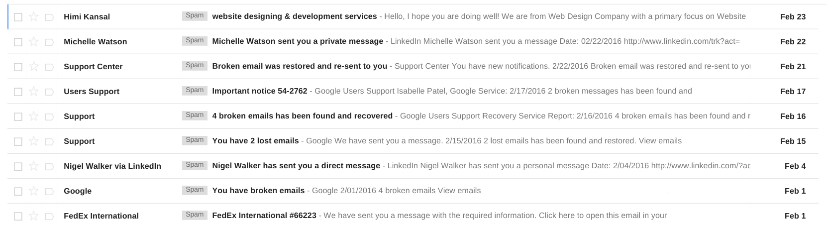 Inbox with Spam