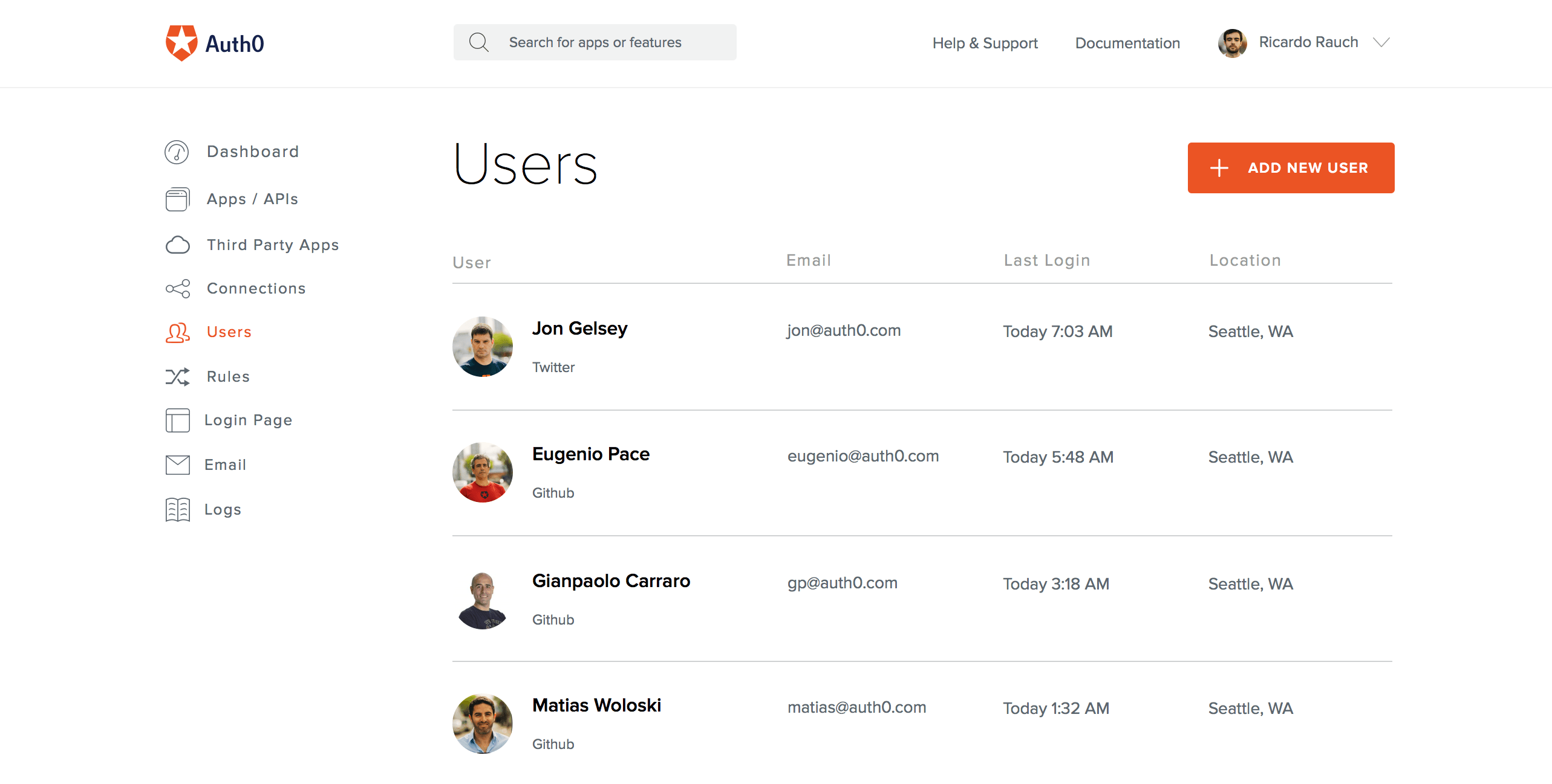 Auth0 users list