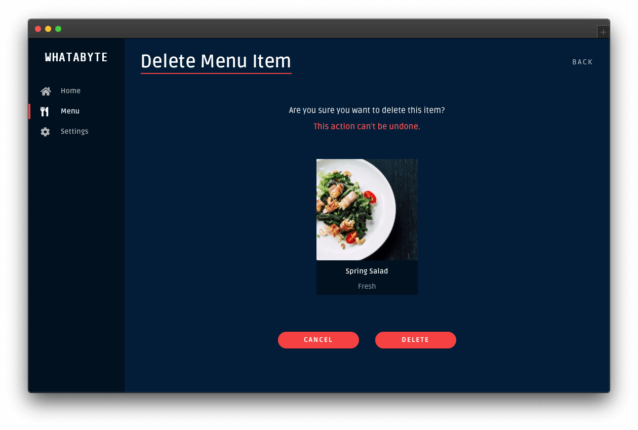 Page to delete the salad item