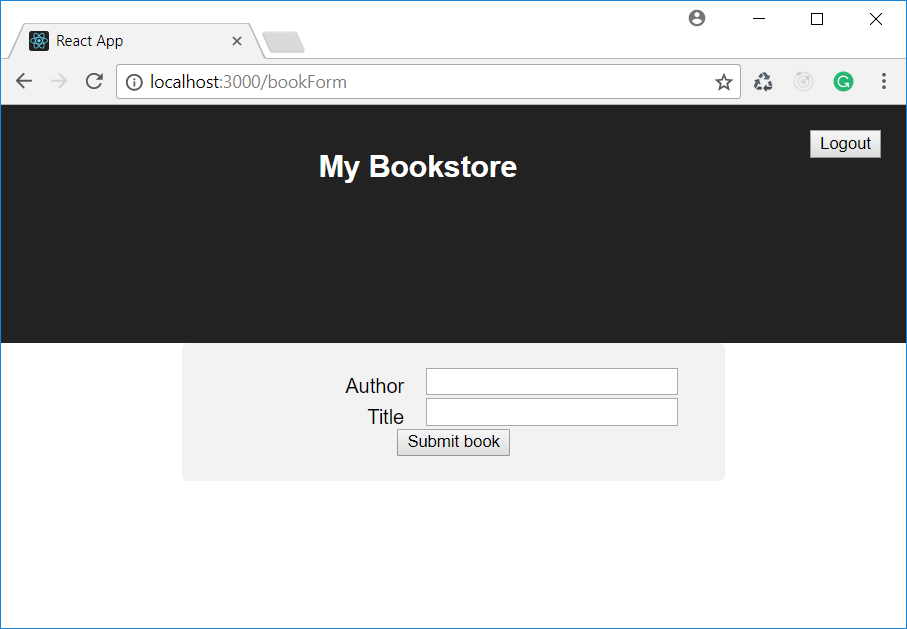 Creating the React form to add books.