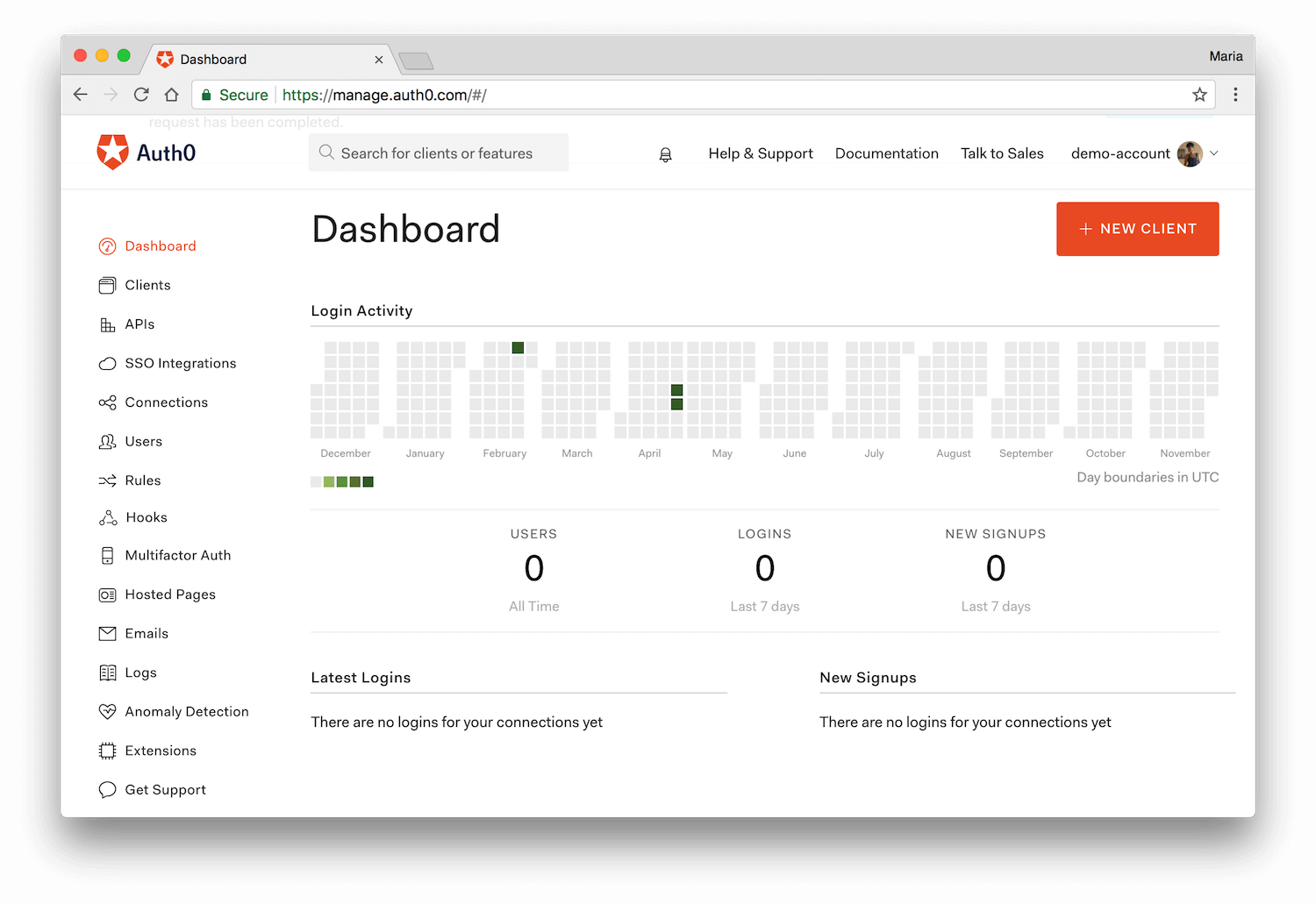 Auth0 Dashboard View